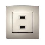 Πρίζα USB Διπλή City Σαμπανιζέ Μεταλλικό