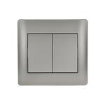 Διακόπτης Διπλός Κομιτατερ / Αλερετουρ K/R-A/R Rhyme Grey Metallic