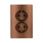 Schuko Socket Double Rhyme Coffee Metallic